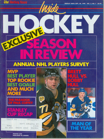September 1990 THN Inside Hockey NHL Magazine Brett Hull Ray Bourque