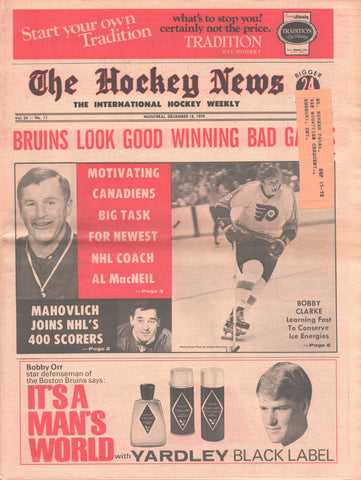 December 18, 1970 The Hockey News Vol 24 No 11 Bobby Clarke Frank Mahovlich Boston Bruins
