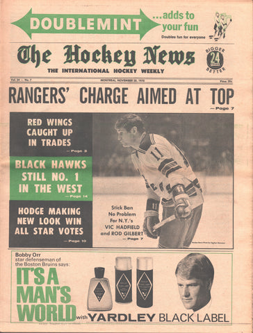 November 20, 1970 The Hockey News Vol 24 No 7 Vic Hadfield Red Wings Rangers Hawks