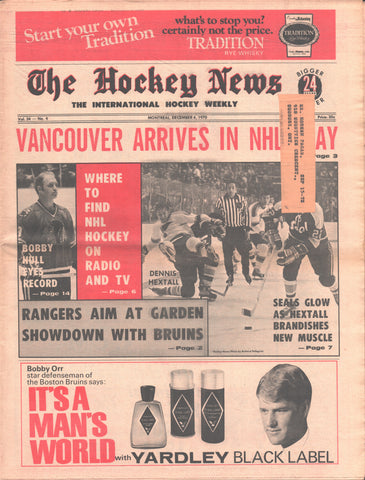 December 4, 1970 The Hockey News Vol 24 No 9 Bobby Hull Oakland Seals New York Rangers