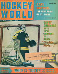 November 1971 NHL Hockey World Magazine Gerry Cheevers Carl Brewer Carl Brewer Oakland Seals