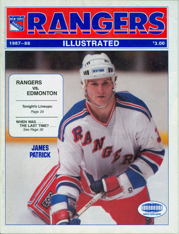 November 1, 1987 Edmonton Oilers - 7 @ New York Rangers - 6  Program Vanbiesbrouck