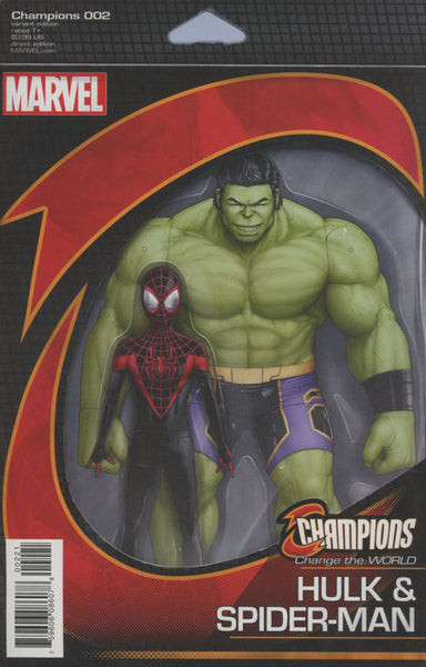 CHAMPIONS VOL 2 #2 COVER VARIANT B ACTION FIGURE HULK SPIDERMAN