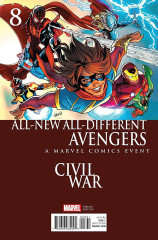 ALL NEW ALL DIFFERENT AVENGERS #8 GREG LAND CIVIL WAR VARIANT