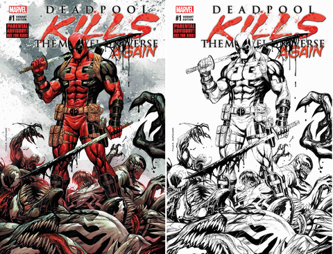 "DEADPOOL KILLS THE MARVEL UNIVERSE AGAIN #1 TYLER KIRKHAM KRS ""VENOMIZE THIS"" 2 PACK EXCLUSIVE"