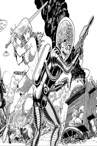 MARS ATTACKS RED SONJA #1 KITSON B&W VIRGIN INCV