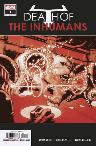 DEATH OF INHUMANS #1 (OF 5) 2ND PTG OLIVETTI VAR