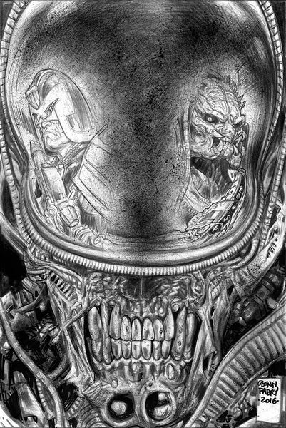 PREDATOR VS JUDGE DREDD VS ALIENS #2 COVER B SKETCH B&W VARIANT