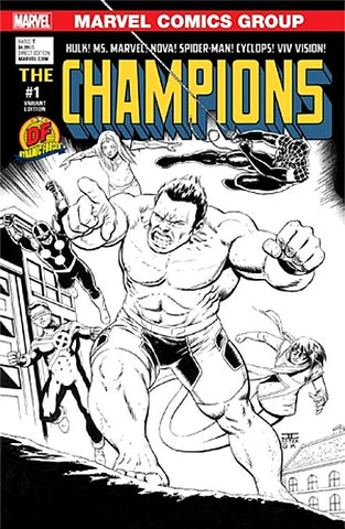 CHAMPIONS VOL 2 #1 DF DYNAMIC FORCES CASSADAY SKETCH B&W VARIANT