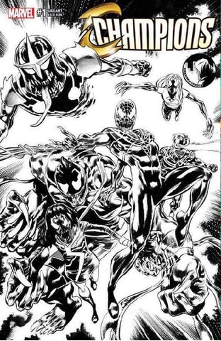 CHAMPIONS VOL 2 #1 UNKNOWN VENOM MIKE PERKINS B&W SKETCH VARIANT