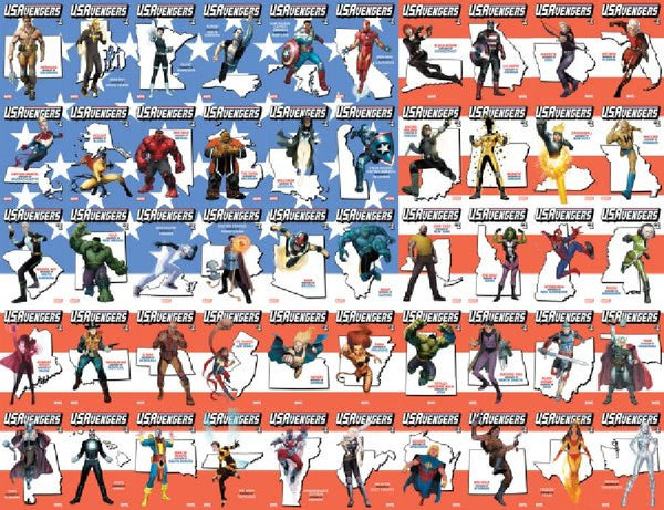 US AVENGERS #1 COVER A-Z-53 ALL STATE TERRITORY COUNTRY VARIANT