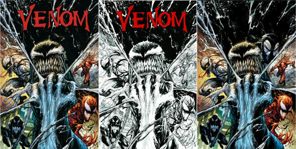 VENOM VOL 3 #3 KRS TYLER KIRKHAM 3 PACK VARIANT VIRGIN COLOR B&W