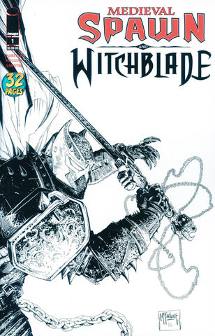 MEDIEVAL SPAWN WITCHBLADE #1 (OF 4) CVR C B&W MCFARLANE