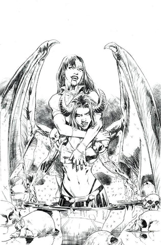 VAMPIRELLA VS PURGATORI #2 PAGULAYAN B&W VIRGIN FOC