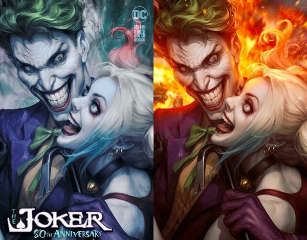 JOKER 80TH ANNIV 100 PAGE SUPER SPECT #1 ARTGERM 2 PACK EXCLUSIVE