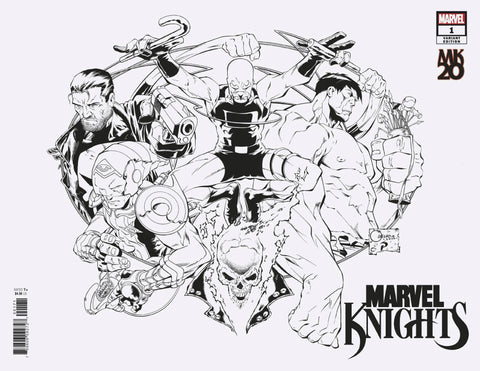 MARVEL KNIGHTS 20TH #1 (OF 6) QUESADA WRAPAROUND BW HIDDEN G