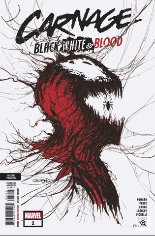 CARNAGE BLACK WHITE AND BLOOD #1 2ND PTG GLEASON VARIANT
