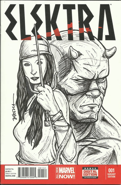 Elektra # 1 Original Sketch Cover By Nicholas Baltra