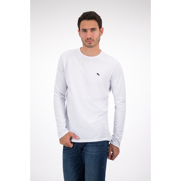 Playera Blanca Manga Larga con Bordado