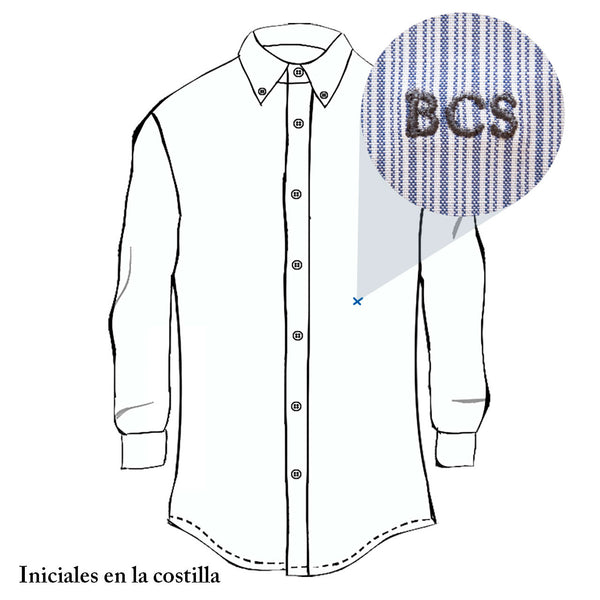 Camisa a micro rayas blancas y azules slim fit - Bacabes