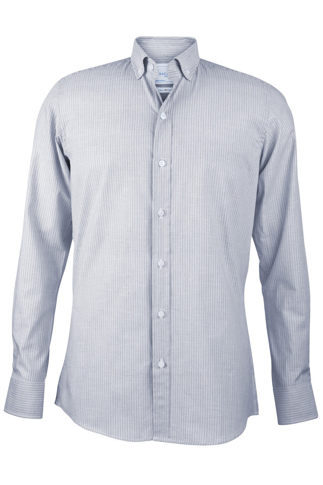Camisa a micro rayas blancas y azules - Bacabes