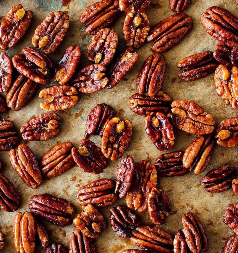 Christmas Maple Candied Pecans