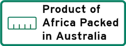 Product of Africa Packed in Australia