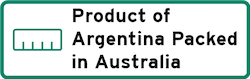 Product of Argentina Packed in Australia Logo