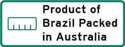 Product of Brazil Packed in Australia Logo