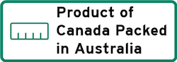 Product of Canada Packed in Australia Logo