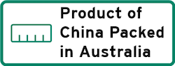 Product of China Packed in Australia Logo