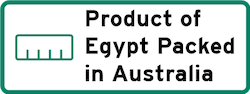 Product of Egypt Packed in Australia Logo