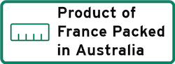Product of France Packed in Australia Logo