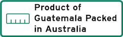 Product of Guatemela Packed in Australia Logo