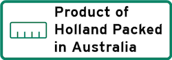Product of Holland Packed in Australia Logo