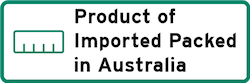 Product of Imported Packed in Australia