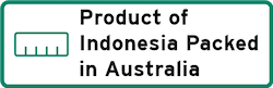 Product of Indonesia Packed in Australia Logo