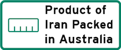 Product of Iran Packed in Australia Logo