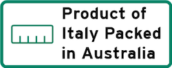 Product of Italy Packed in Australia Logo
