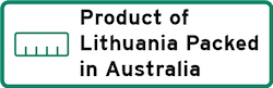 Product of Lithuania Packed in Australia