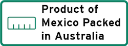 Product of Mexico Packed in Australia Logo