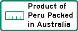 Product of Peru packed in Australia