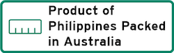 Product of Philippines Packed in Australia Logo