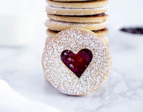 Cookies with heart shape in middle