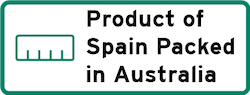 Product of Spain Packed in Australia Logo