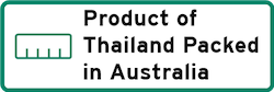 Product of Thailand Packed in Australia Logo
