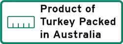 Product of Turkey Packed in Australia Logo