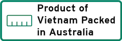 Product of Vietnam Packed in Australia Logo