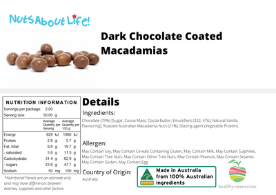 Dark Chocolate Coated Macadamias