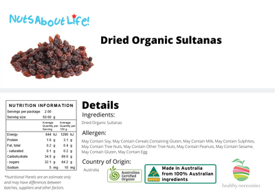 Organic Sultanas Nutritional Information